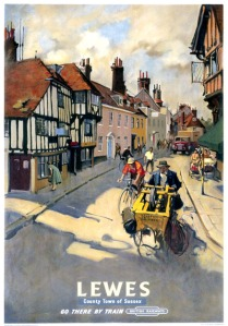 Lewes, County Town of Sussex. Vintage BR Travel poster by Terenc